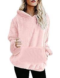 ABsolute Camiseta ❤️ Sudadera con Capucha y Cremallera de Mujer, Abrigo de Lana Abrigada de Invierno Bolsillos con Cremallera Abrigo de algodón Outwear