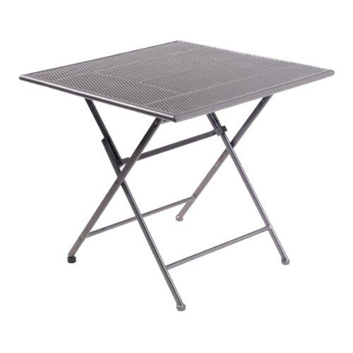 greemotion Klapptisch Toulouse eisengrau, Terassentisch mit Niveauregulierung, Tisch mit feiner Streckmetallplatte aus kunststoffummanteltem Stahl, Maße ca. 80 x 80