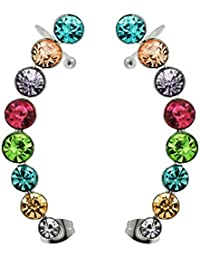 8 Rounds Multi Colors Crystal Stone 316L Surgical Steel Cartilage Clip on Ear Cuff Wrap Earrings