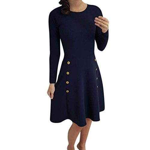 Frauen Rundhals Kleid, Hansee Damenmode Langarm Lose Knöpfe Bluse Feste Kleider Kleider (L, Dunkelblau) (Shorts Spandex Knie-länge)