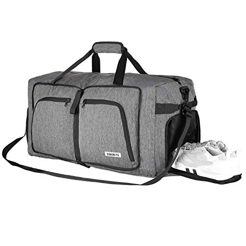 , Faltbare Reisetasche Packbare Sporttasche mit Schuhfach Gym Fitness Tasche für Herren and Frauen Wochenend Handgepäck Tasche Reisegepäck mit Schulterriemen 100% Robust 65L ()
