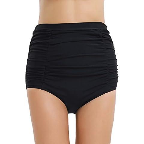 TiaoBug Women High Waisted Ruched Bikini Swim Bottoms Swimwear Shorts Briefs Black Large