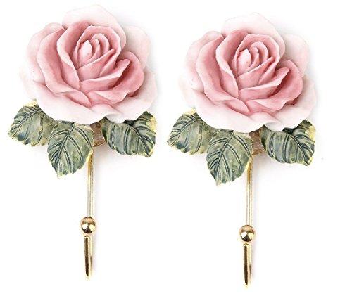 nalmatoionme 2pcs dulce flor rosa colgante gancho perchero sombrero toalla estante percha pared montado