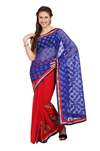 Parchayee Women's Net::Georgette Saree (Polka Print::Printed_Blue::Red_Free Size)  available at amazon for Rs.460