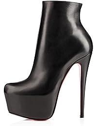 Cuckoo Mujeres Dedo del pie redondo tacones estilete de la plataforma de vestir botas de cuero del tobillo