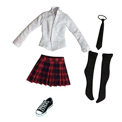 sharprepublic 1 / 6 12 '' Women's Clothing Student Uniform Canvas Shoes for 12 '' Action Figure Body - + Red Black