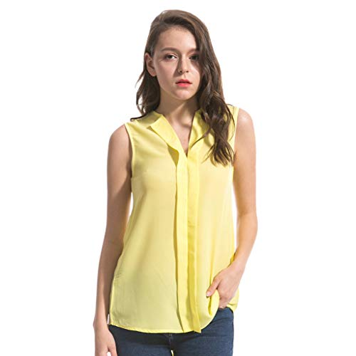 Kviklo Damen Plus Size Westen Tank Sommer Chiffon lose Ärmellos V Neck Top sowie Elegante Bluse Oversize(S(36),Gelb)