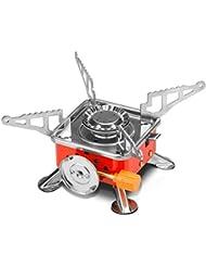 Aidle Mini Estufa Portátil de Acero al Aire Libre para Hornillo Gas Camping con Encendido Piezoeléctrico