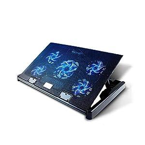 Olliwon Base de Refrigeración para Ordenador Portátil,5 Ventiladores Ultrasilenciosos con LED, Velocidad Ajustable, hasta 17.6 Pulgadas con 2 Puertos USB