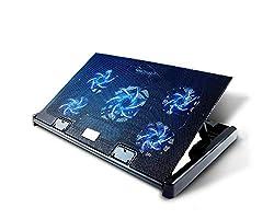 Olliwon Laptop Kühler, Notebook Cooler Belüfteter Ständer 5 Lüfter mit LEDs Kühlmatte 12-17 Zoll, 2 USB 5 Höheverstellbar Notebookkühler - Schwarz