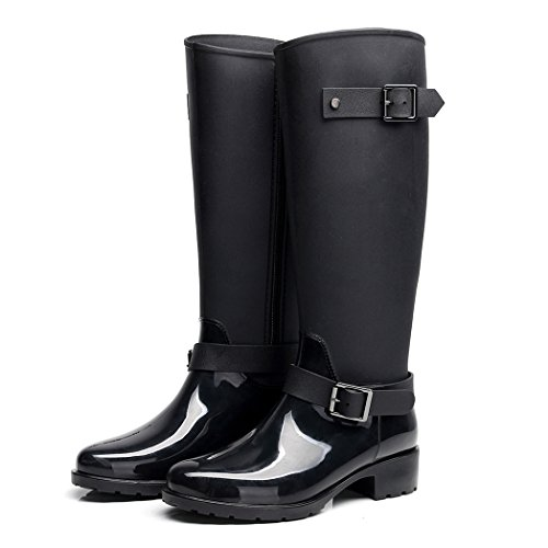 AMOMGard Womens Rain Boots Mid Calf Waterproof Rubber Wellies Wellington Rainboots High Knee Shoes