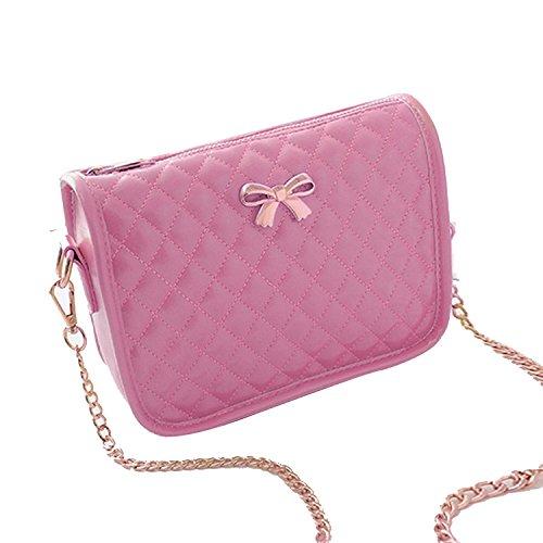 cindere Damen Handtasche Kunstleder lässig Bow Umhängetasche Gesteppte PU Leder Handtasche Süß Elegant mit Bowknot 4 Farben Pink
