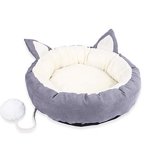 Bupin cuccia rotonda per gatti e animali domestici, con motivo a cartoni animati, rimovibile, lavabile, calda e morbida, con palla giocattolo