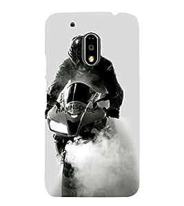 Fuson Designer Back Case Cover for Motorola Moto G4 Plus (Speed bike design :: Racing Bike Design :: Extrodinary bike designer :: Smoke ride design :: Speed Racer design wallpaper)