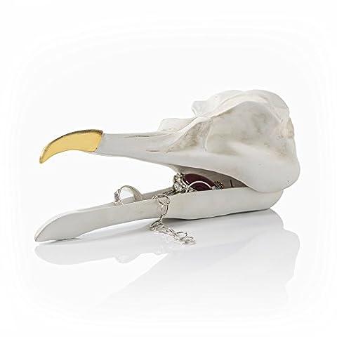 SUCK UK Bird Skull Jewellery Box, Bird White