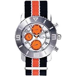 Ross Rino Chamäleon (Sternbild) Unisex Quarzuhr mit Orange Zifferblatt Analog-Anzeige und Orange Nylon Armband