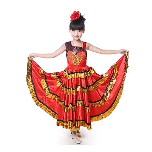 Jian E& Kindertag Tanzkostüm Performance Kostüme Spanischer Stierkampf Tanz Big Swing Rock Kinder Blütenblatt Rock (Farbe : Red, größe : ()