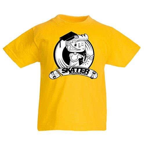 Kinder Jungen/Mädchen T-Shirt Professionelle Skate-Akademie Graduierung - Für Skater - Skateboard - Longboard, Geschenke für den Skater (7-8 Years Gelb Mehrfarben)