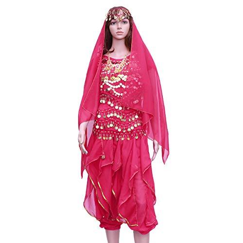 FENICAL 5 Teile/Satz Indischen Tanz Bauchtanz Kurzarm Rotary Hosen Leistung Set (Rosy, Tops + Pants + Taille Kette + Headwear Schleier + Halskette)
