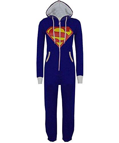 königsblau superman 9-10 Jahre Stacy Unisex-Kinder Plain oder Aztekenmuster Kapuzen Overall Onesie (Superman Fleece)