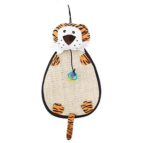 Cartoon Cat Scratching Pad Plüsch Sisal Kätzchen Scratcher Toy Claws Pad Matte Interaktives Spielzeug mit hängenden Sound Bell für Möbelschutz(Tiger) (Spaß Türklinke)
