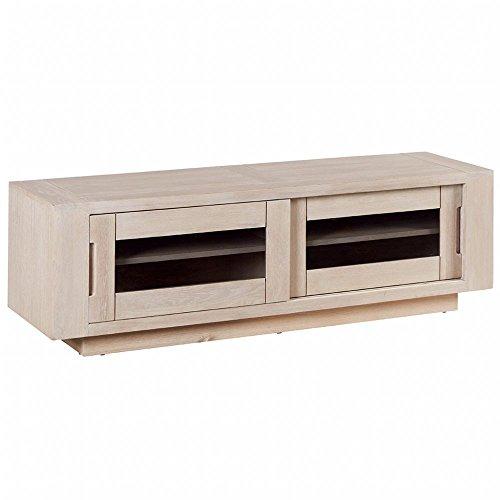 Meuble TV Chêne massif ciré blanchi 2 portes coulissantes vitrées fumées 150x42x47cm MANILLE