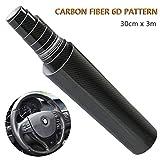 YANSHON Autocollant de Voiture en Fibre de Carbone de Vinyle 6D, Auto-adhésif Imperméable à l'eau sans Bulle 300 * 30cm, Adapté à l'Apparence et à l'Intérieur des Motos, des Ordinateurs, des Voitures
