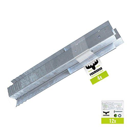 FATMOOSE Winkelanker-Set 4 Stück für Spieltürme, Schaukelgerüste und Leitern, feuerverzinkt, 50 x 4,5 x 4,5cm