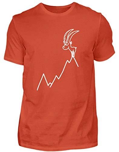 Steinbock Berge Bergsteigen Wandern - Herren Shirt -L-Orangerot