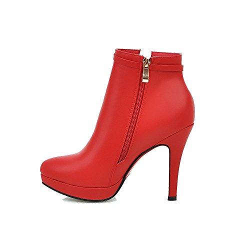 VogueZone009 Damen Spitz Zehe Niedrig-Spitze Reißverschluss Stiletto Stiefel Rot