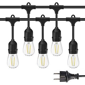 Guirnalda Luces Exterior 15m IP65 Impermeable Cadena de Luz iluminación, 15 LED Bombilla de Filamento E27 Guirnalda Luminosa para Jardín Boda Fiesta de Navidad