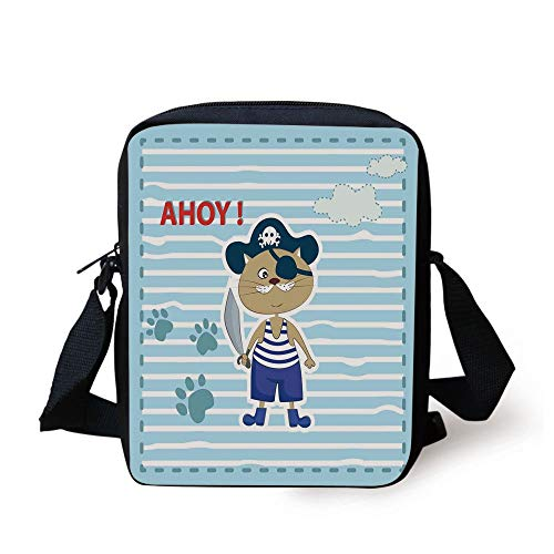 Ahoy Its a Boy,Cute Cat Pirate Funny Paws Clouds Maritime Striped Framework,Turquoise Violet Blue Red Print Kids Crossbody Messenger Bag Purse