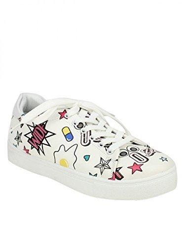 Cendriyon, Baskets blanche WIDF Fashion Chaussures Femme Blanc
