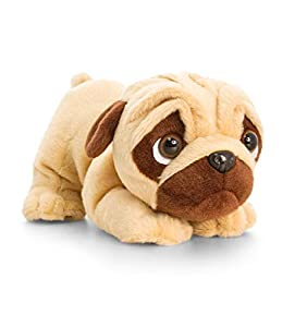 Keel Toys KEELTOYS - Peluche sonoro animotsu Pugsley Carlin 26 cm-SD0793, Color Beige, marrón