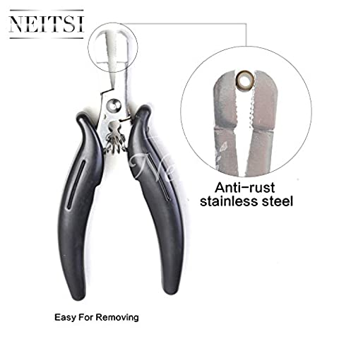Neitsi® Black Plier Hair Extension Plier Glue Removal Pliers for Micro Rings Fusion Glue Bond Removal (Whorl Shape 02)