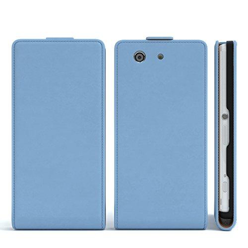 Sony Xperia Z1 Compact Hülle - EAZY CASE Premium Flip Case Handyhülle - Schutzhülle aus Leder in Schwarz Hellblau (Flip)