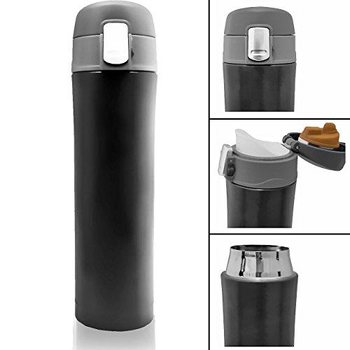 HOMETOOLS.EU® - Coffee-to-Go Thermo Becher Flasche   Flasche   hält 10h heiss, Verschluss-Sicherung, Ergonomisches Mundstück   550ml, schwarz