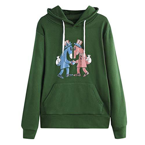 ZHANSANFM Damen Sweatshirt Cartoon Drucken Hoodie Täglichen Beiläufiges Kapuzenjacke Shirt Langarm Herbst Warme Kapuzenpulli Mode Vintage Locker Oberteile Hoody Kapuzenpullover (S, Grün) -