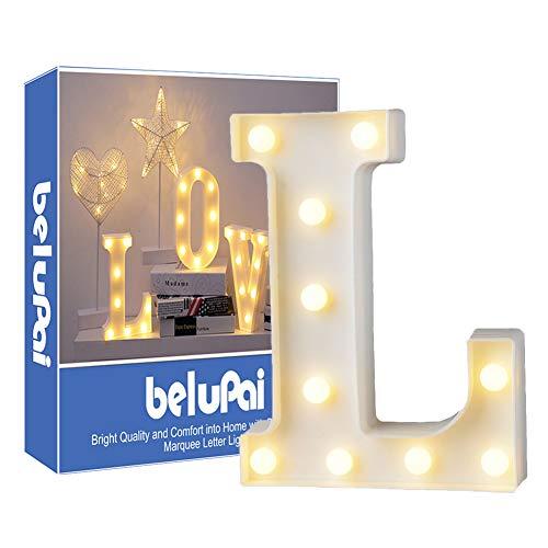 Letras Led Letras Luminosas Decorativas Letras Alphabet Light Luces De Espejo Del Alfabeto A-Z con Luces de LED para Decoración de DIY Wedding Party Dormitorio Decoración de Navidad- Letra L