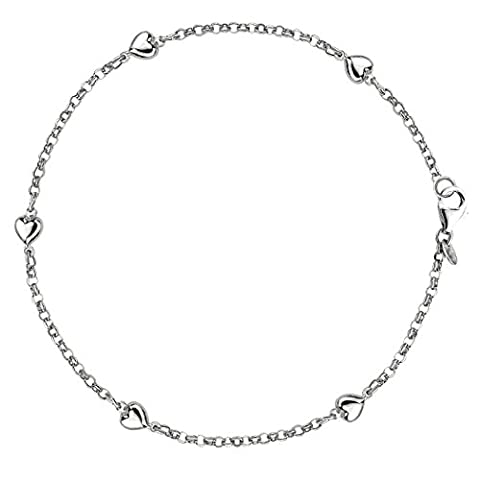 Puffed Hearts On A Rolo Link Chain Anklet In Sterling Silver, 10