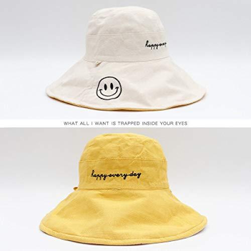 Katy Mini Set (Zaosan Doppelseitige Fischerhut weibliche Flut koreanische Version der japanischen Frühlings- und Herbstmode Wilden großen Sonnenschutz Smiley Sonnenschutzkappe)