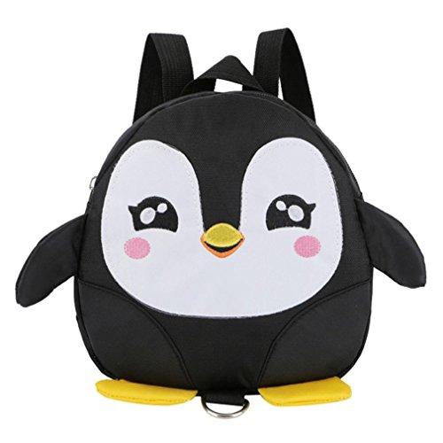 OdeJoy Kinder Baby Mädchen Jungen Karikatur Tier Rucksack Kleinkind Schule Tasche Kind Schön Pinguin Schulranzen Rucksack Segeltuch Schulrucksack Students Bags (Schwarz,1 PC) -