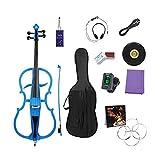Violoncelle Électrique Étudiant 4/4 Violoncelle Instrument de Musique Performance Haut de Gamme Stage Professionnel Violoncelle électronique en Bois Massif,Blue...