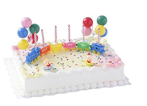 Cake Company Torten-Figur 'Zirkus-Zug' mit Kerzen und essbaren Zucker-Konfetti | Torten-Deko Set mit 2 Clowns & 2 Ballontrauben aus Kunststoff | Torten-Motiv ideal den Kinder-Geburtstag | Kuchen-Deko
