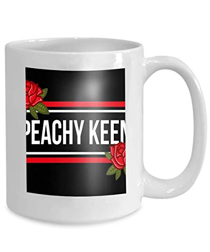 mug coffee tea cup fashion modern graphic print clothes lettering peachy keen embroidered red roses creative 110z (Keen-red)