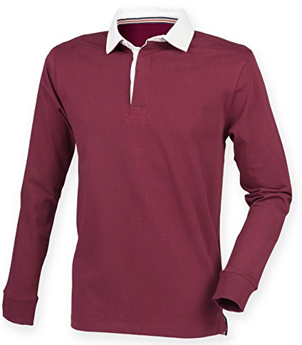 mens-front-row-supersoft-slim-fit-rugby-collared-cotton-shirt-tops-burgundy-size-xl