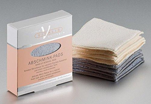 4 deluxe Microfaser Abschminkpads, Abschminktücher, Kosmetiktücher, graublau, waschbar, inklusive Waschsack