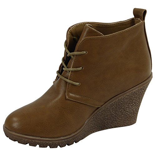 Loud Look NEW LADIES WOMENS FAUX LEATHER LACE UP WEDGE HEEL FLAT ANKLE BOOTS SHOES SIZE