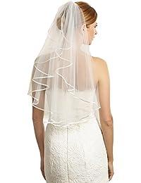 Bridal Veil Women's Simple Tulle Short Wedding Veil Ribbon Edge With Comb for Wedding Bachelor