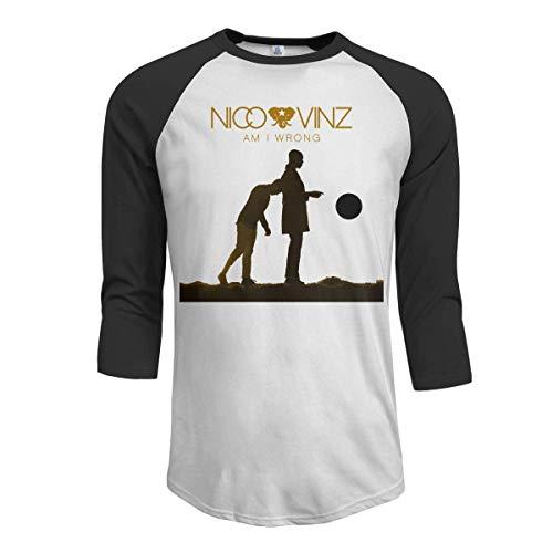 Pimkly Herren Tee T-Shirt, Men's Nico and Vinz Am I Wrong 3/4 Sleeve Raglan Baseball T-Shirt Black